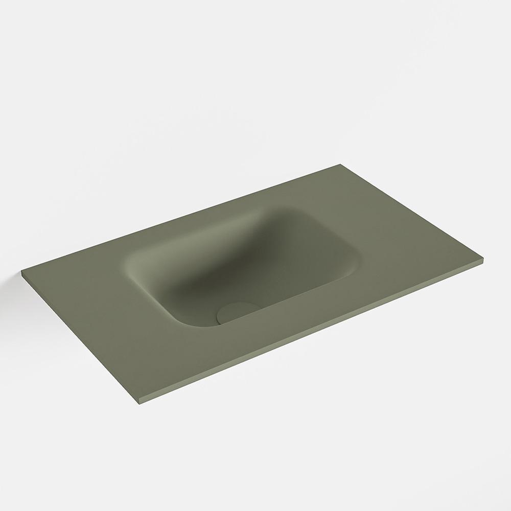 MONDIAZ LEX Army solid surface inleg wastafel voor toiletmeubel 50cm. Positie wasbak links