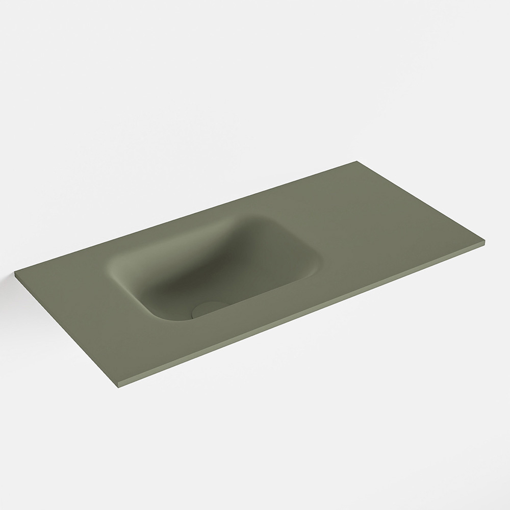 MONDIAZ LEX Army solid surface inleg wastafel voor toiletmeubel 60cm. Positie wasbak links
