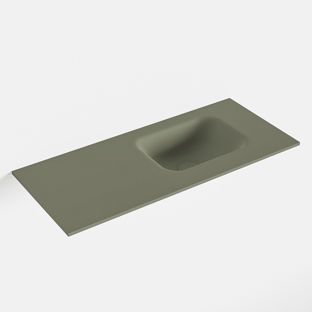 MONDIAZ LEX Army solid surface inleg wastafel voor toiletmeubel 70cm. Positie wasbak rechts
