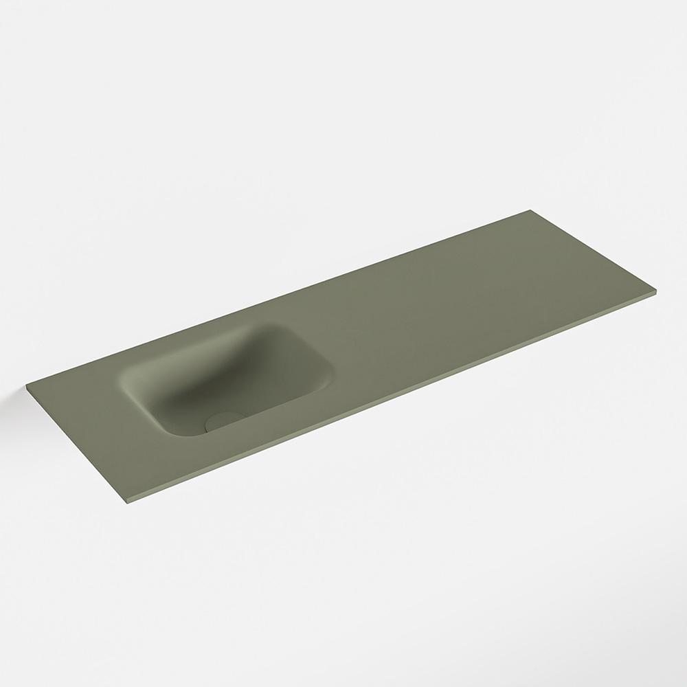 MONDIAZ LEX Army solid surface inleg wastafel voor toiletmeubel 90cm. Positie wasbak links