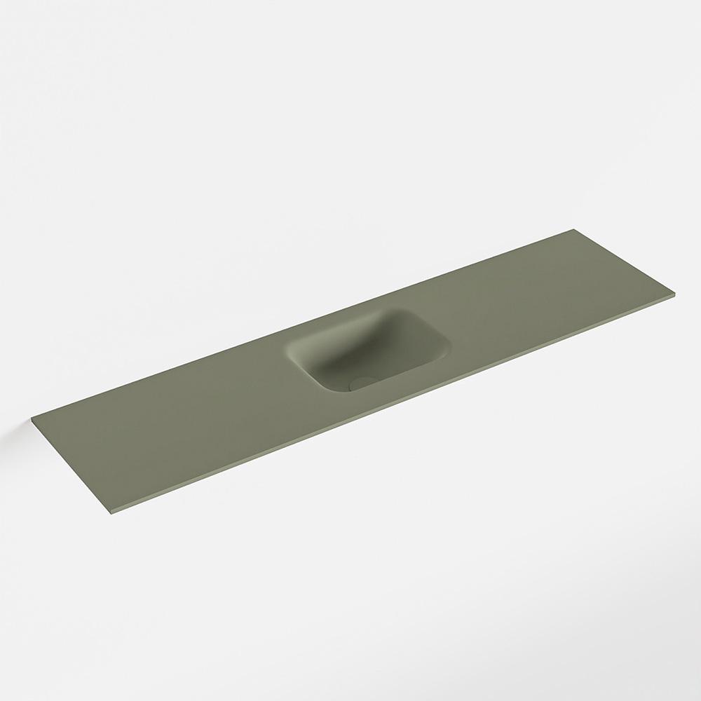 MONDIAZ LEX Army solid surface inleg wastafel voor toiletmeubel 120cm. Positie wasbak midden