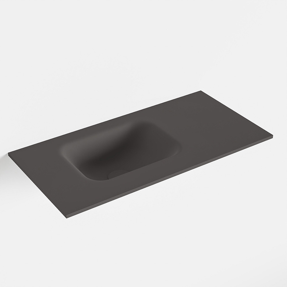MONDIAZ LEX Dark_grey solid surface inleg wastafel voor toiletmeubel 60cm. Positie wasbak links