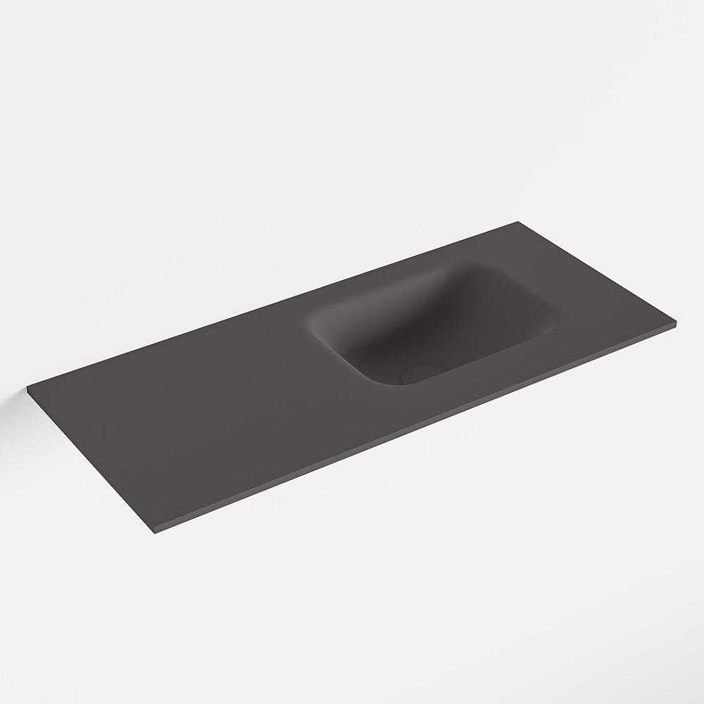 MONDIAZ LEX Dark_grey solid surface inleg wastafel voor toiletmeubel 70cm. Positie wasbak rechts