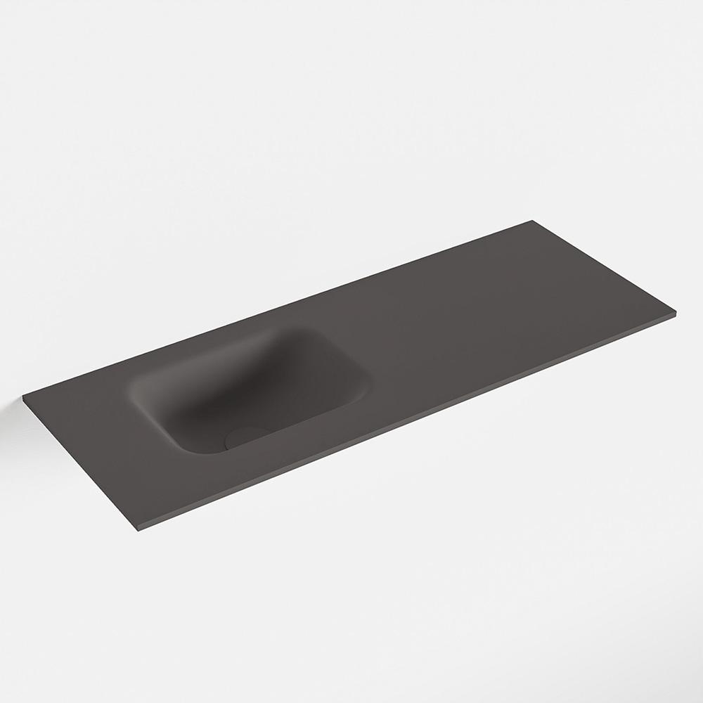 MONDIAZ LEX Dark_grey solid surface inleg wastafel voor toiletmeubel 80cm. Positie wasbak links