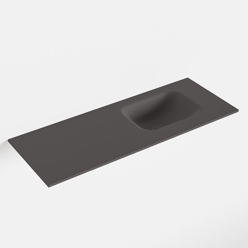MONDIAZ LEX Dark_grey solid surface inleg wastafel voor toiletmeubel 80cm. Positie wasbak rechts