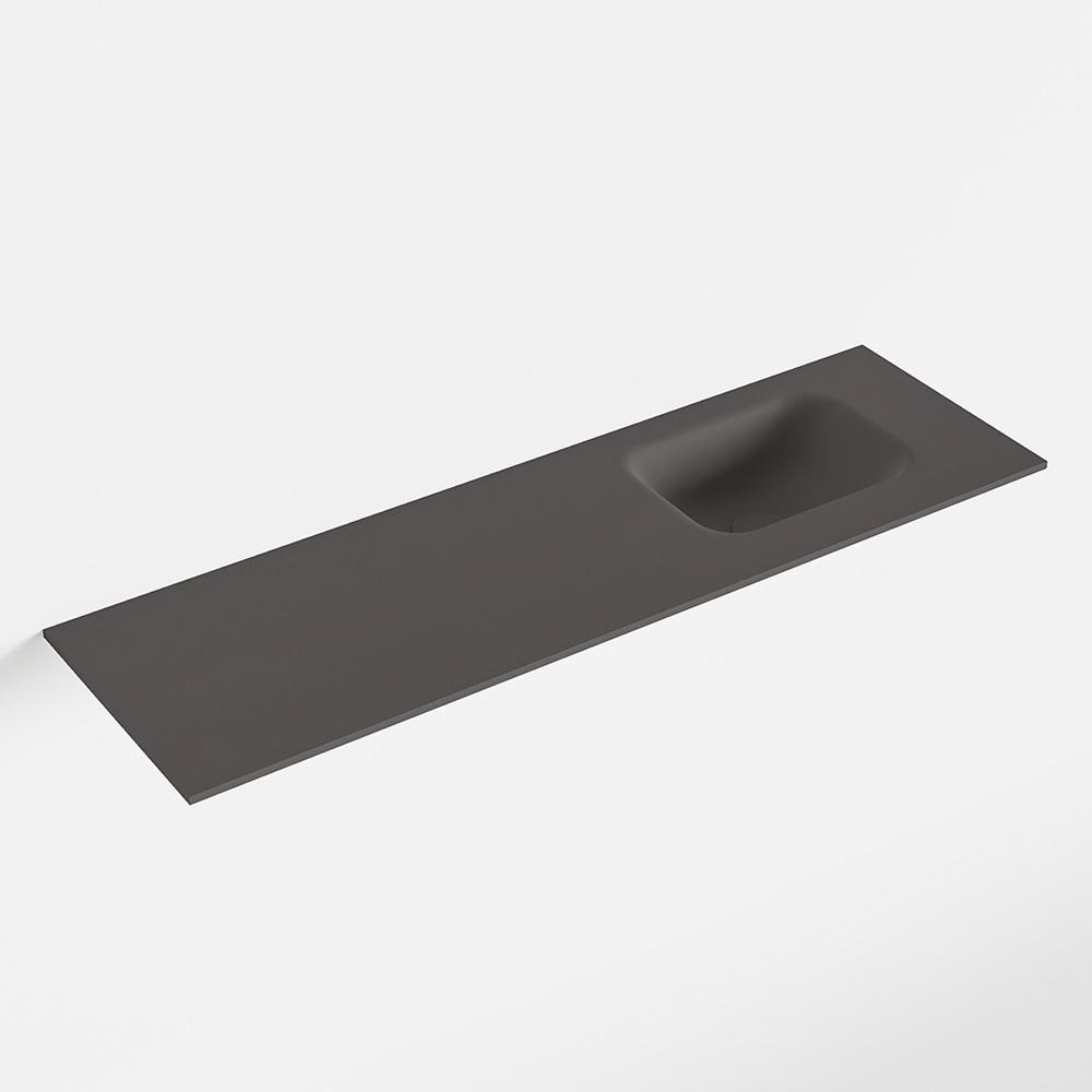 MONDIAZ LEX Dark_grey solid surface inleg wastafel voor toiletmeubel 100cm. Positie wasbak rechts