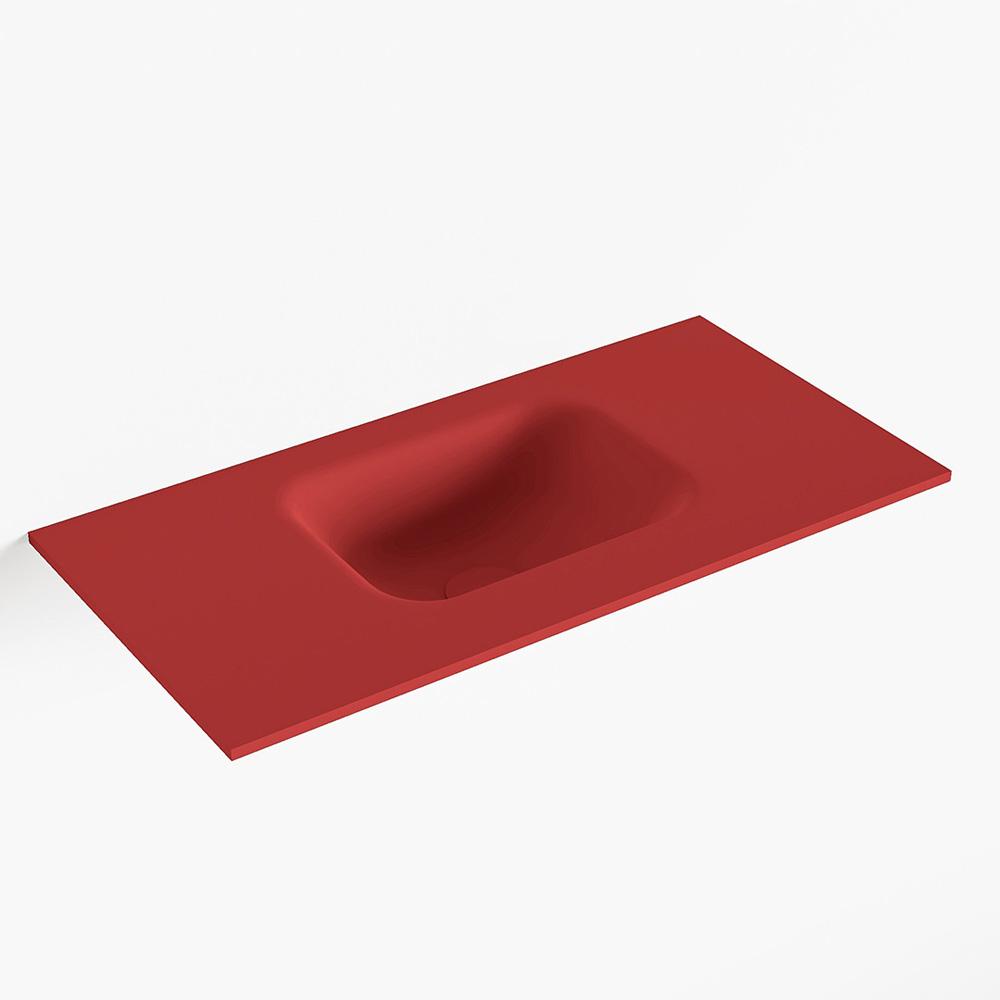 MONDIAZ LEX Fire solid surface inleg wastafel voor toiletmeubel 60cm. Positie wasbak midden