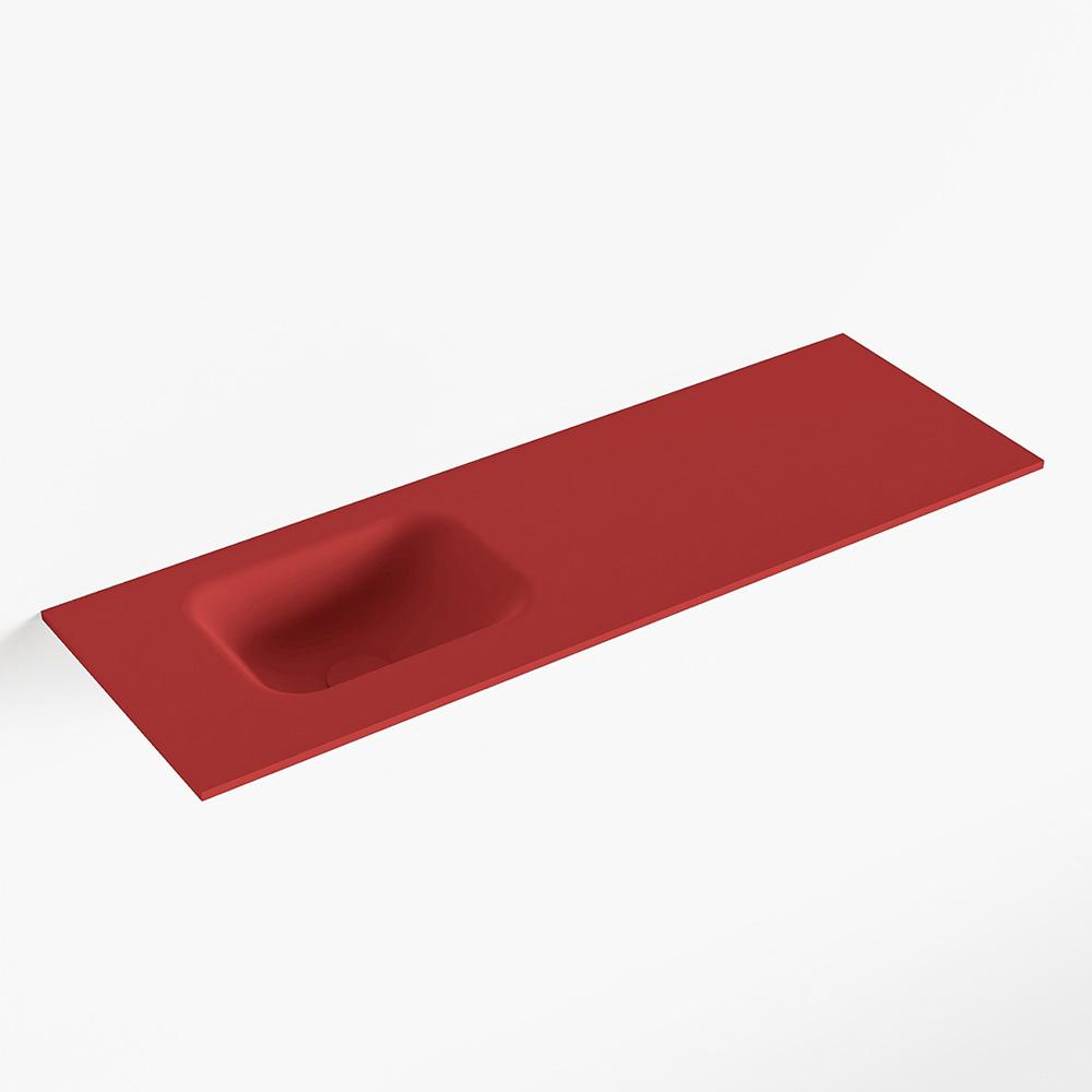 MONDIAZ LEX Fire solid surface inleg wastafel voor toiletmeubel 90cm. Positie wasbak links