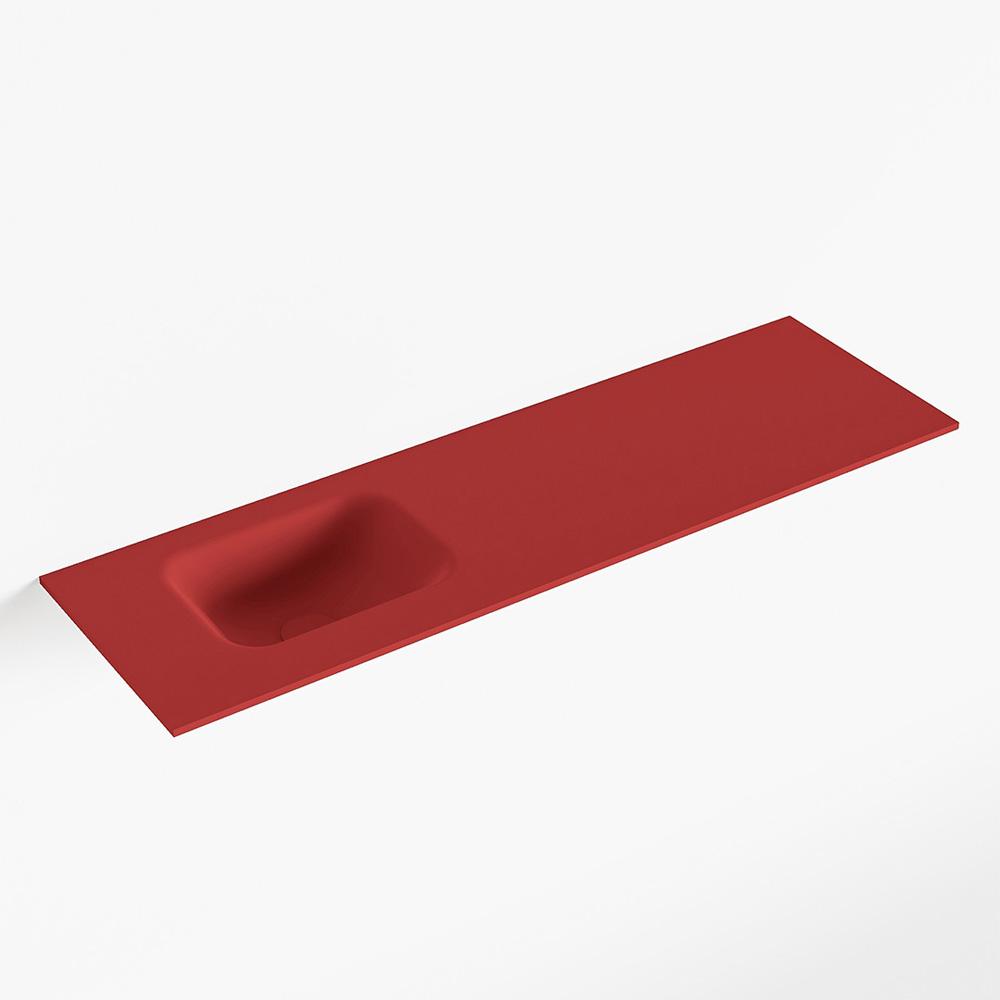 MONDIAZ LEX Fire solid surface inleg wastafel voor toiletmeubel 100cm. Positie wasbak links