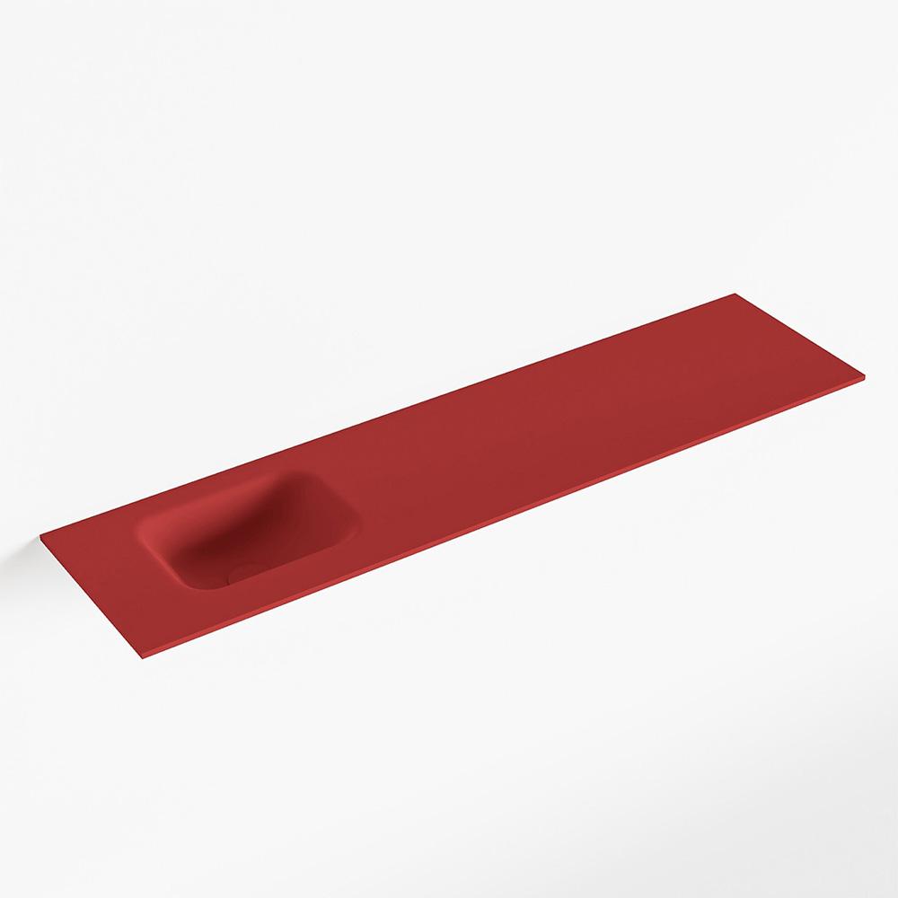 MONDIAZ LEX Fire solid surface inleg wastafel voor toiletmeubel 120cm. Positie wasbak links