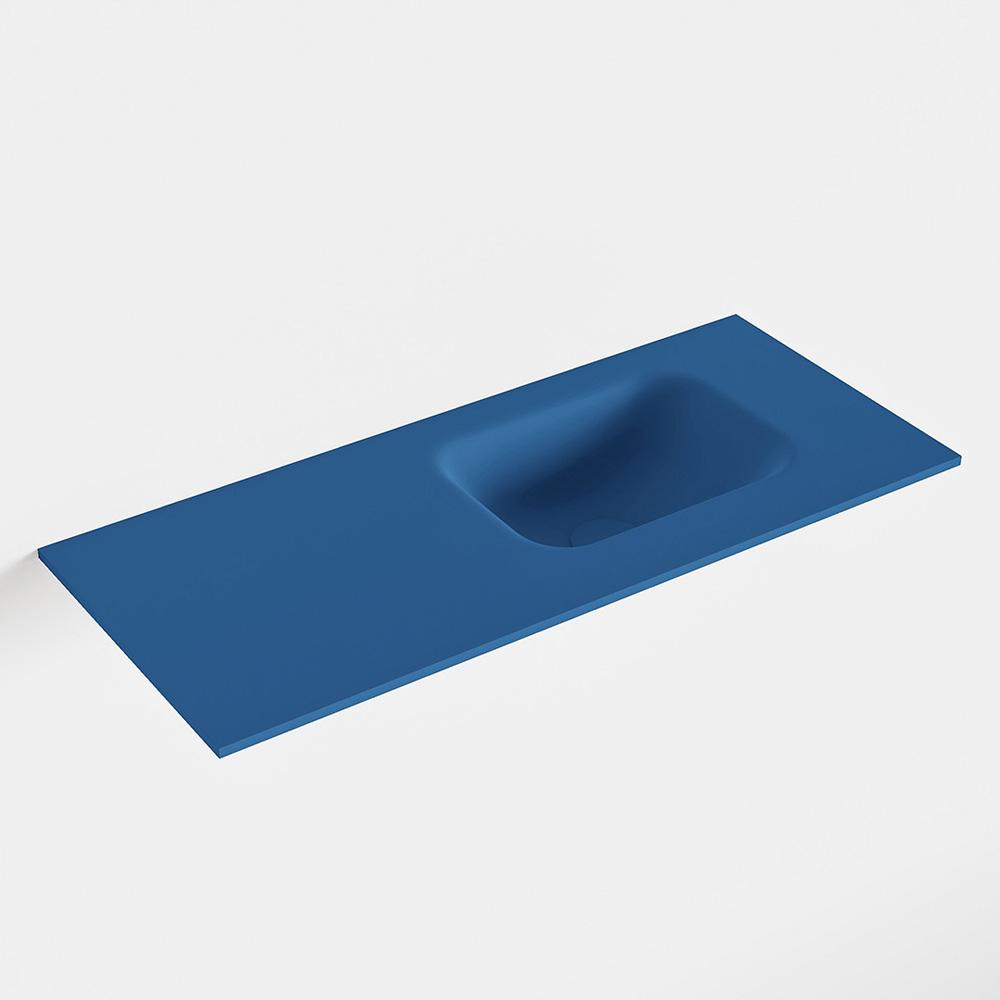 MONDIAZ LEX Jeans solid surface inleg wastafel voor toiletmeubel 70cm. Positie wasbak rechts
