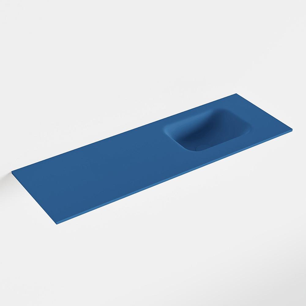 MONDIAZ LEX Jeans solid surface inleg wastafel voor toiletmeubel 90cm. Positie wasbak rechts