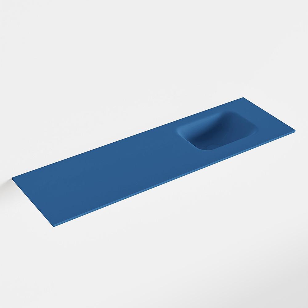 MONDIAZ LEX Jeans solid surface inleg wastafel voor toiletmeubel 100cm. Positie wasbak rechts