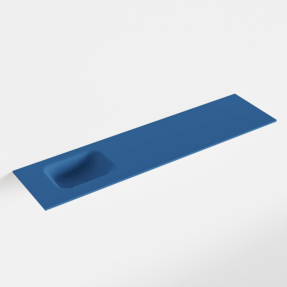 MONDIAZ LEX Jeans solid surface inleg wastafel voor toiletmeubel 120cm. Positie wasbak links
