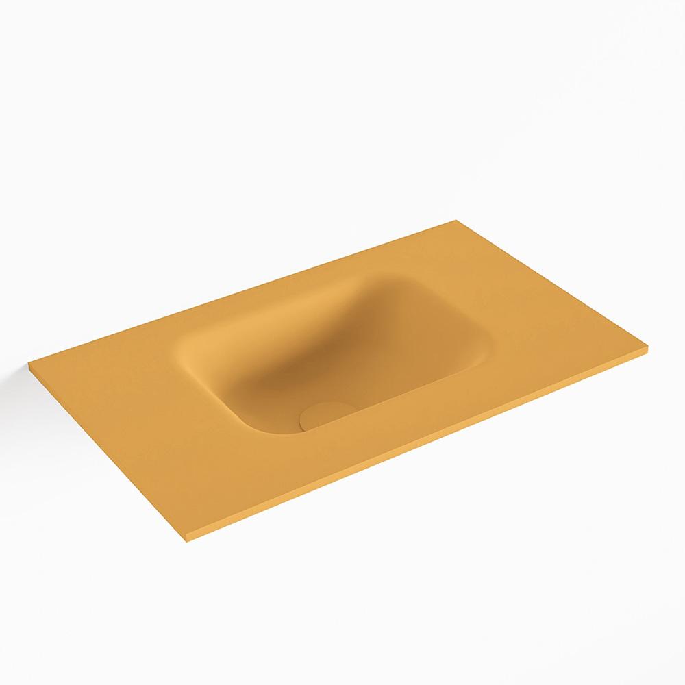MONDIAZ LEX Ocher solid surface inleg wastafel voor toiletmeubel 50cm. Positie wasbak midden