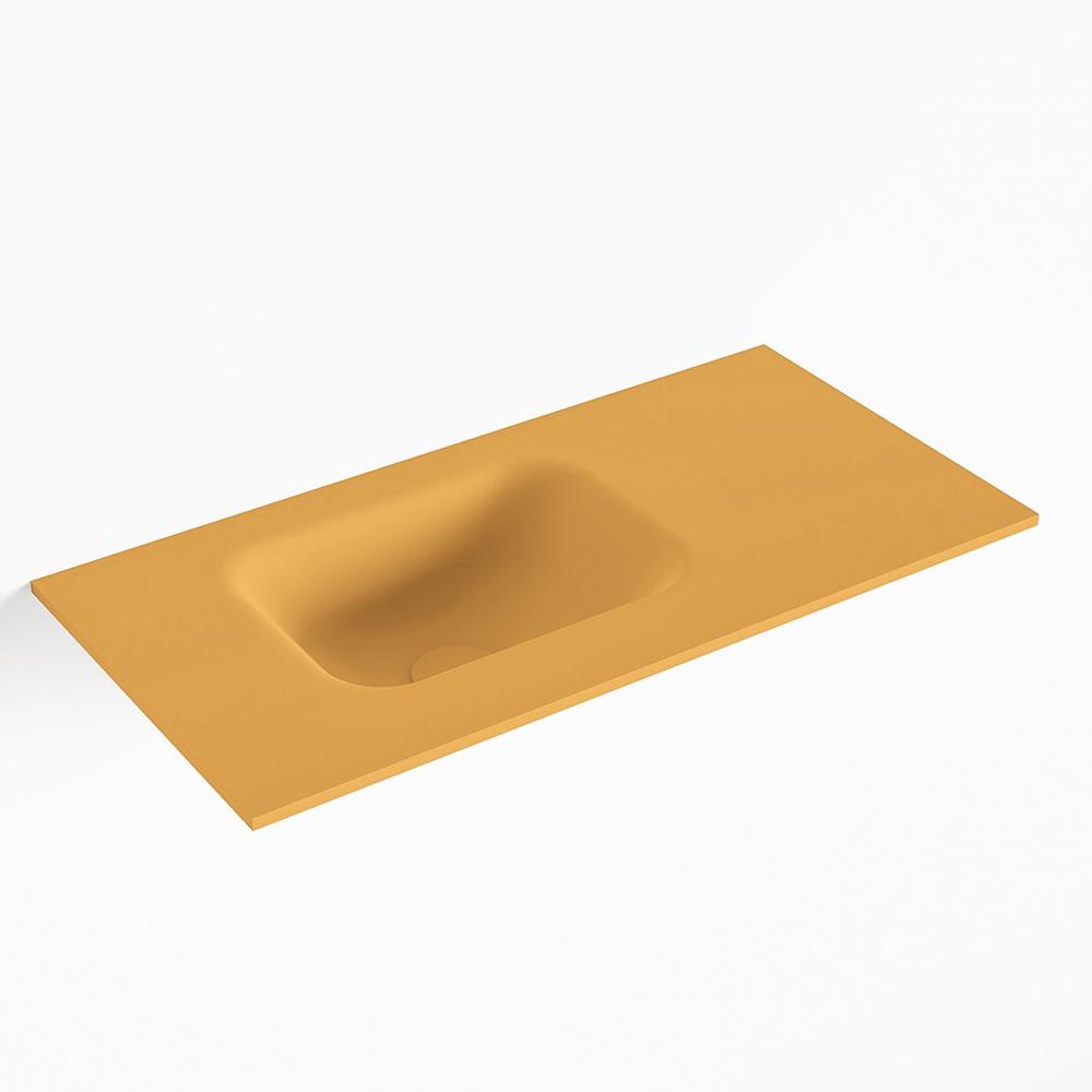 MONDIAZ LEX Ocher solid surface inleg wastafel voor toiletmeubel 60cm. Positie wasbak links