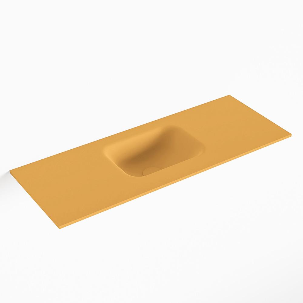 MONDIAZ LEX Ocher solid surface inleg wastafel voor toiletmeubel 80cm. Positie wasbak midden