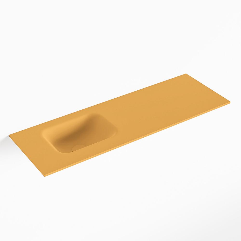 MONDIAZ LEX Ocher solid surface inleg wastafel voor toiletmeubel 90cm. Positie wasbak links