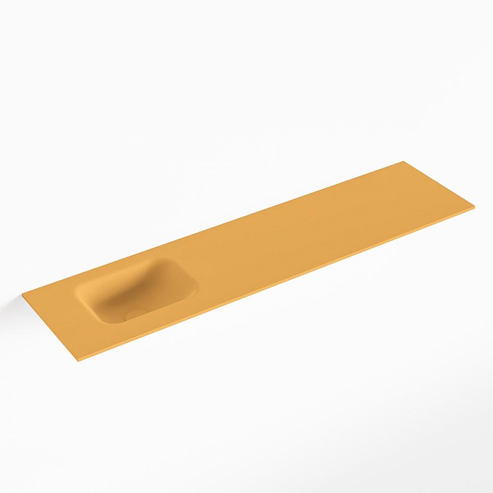 MONDIAZ LEX Ocher solid surface inleg wastafel voor toiletmeubel 120cm. Positie wasbak links