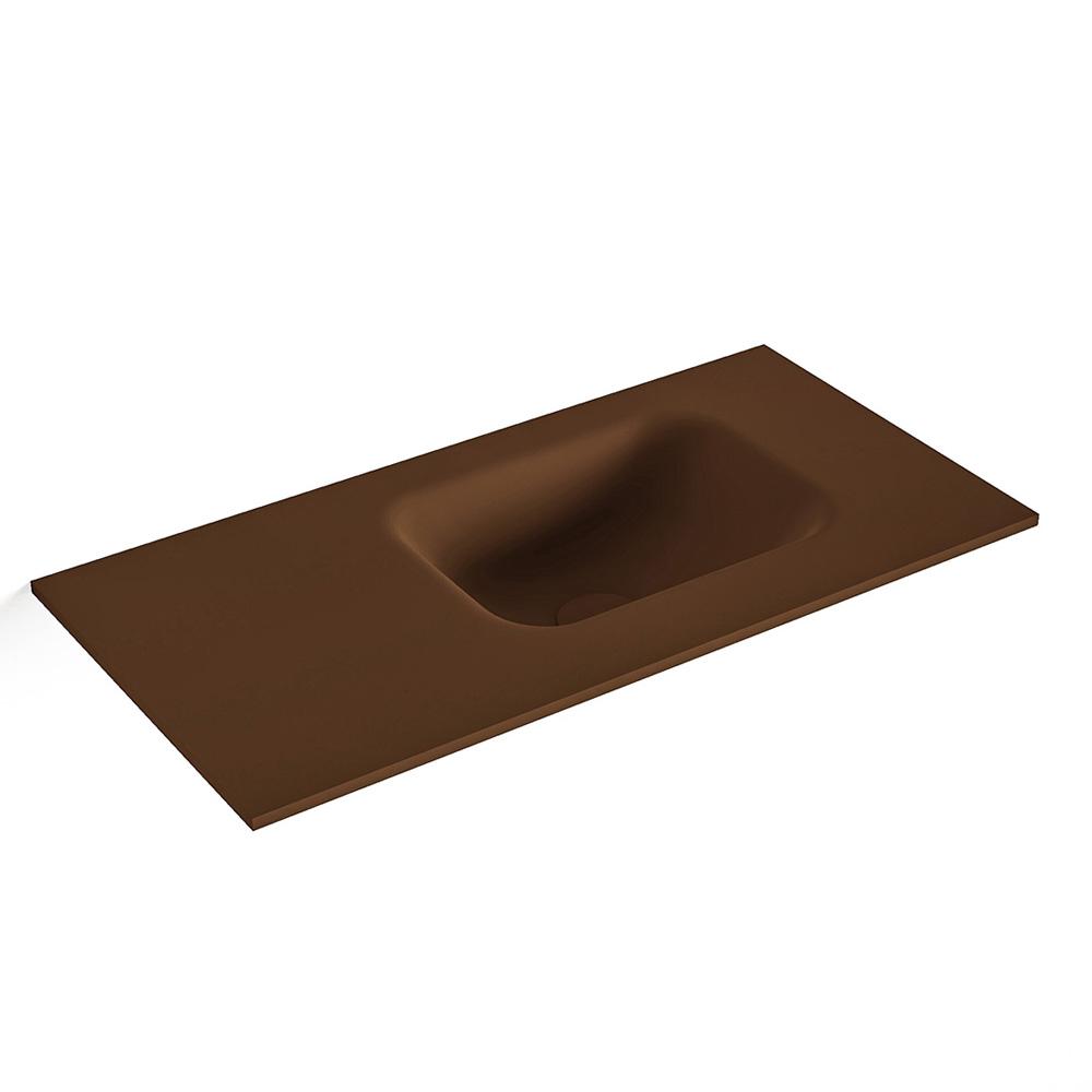 MONDIAZ LEX Rust solid surface inleg wastafel voor toiletmeubel 60cm. Positie wasbak rechts