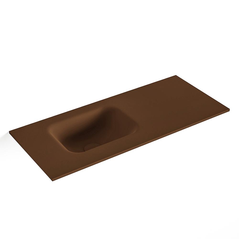 MONDIAZ LEX Rust solid surface inleg wastafel voor toiletmeubel 70cm. Positie wasbak links
