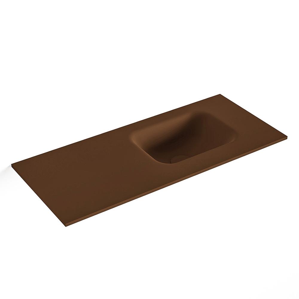 MONDIAZ LEX Rust solid surface inleg wastafel voor toiletmeubel 70cm. Positie wasbak rechts