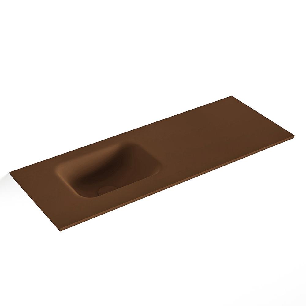 MONDIAZ LEX Rust solid surface inleg wastafel voor toiletmeubel 80cm. Positie wasbak links
