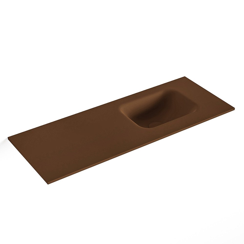 MONDIAZ LEX Rust solid surface inleg wastafel voor toiletmeubel 80cm. Positie wasbak rechts