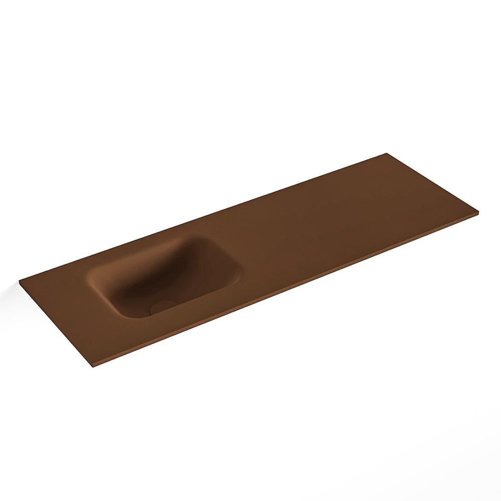 MONDIAZ LEX Rust solid surface inleg wastafel voor toiletmeubel 90cm. Positie wasbak links