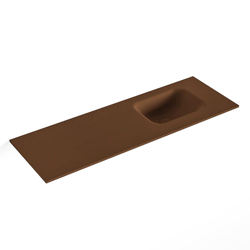 MONDIAZ LEX Rust solid surface inleg wastafel voor toiletmeubel 90cm. Positie wasbak rechts
