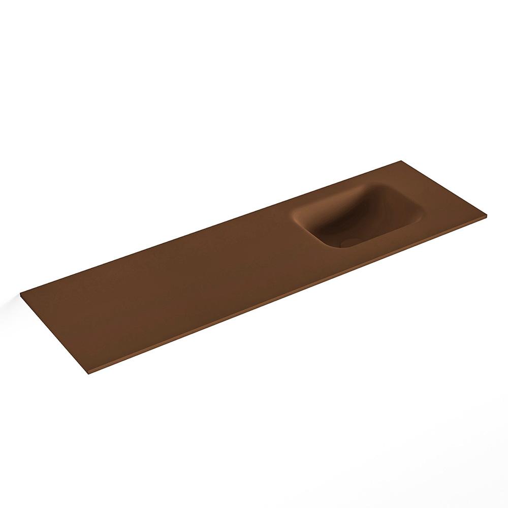 MONDIAZ LEX Rust solid surface inleg wastafel voor toiletmeubel 100cm. Positie wasbak rechts