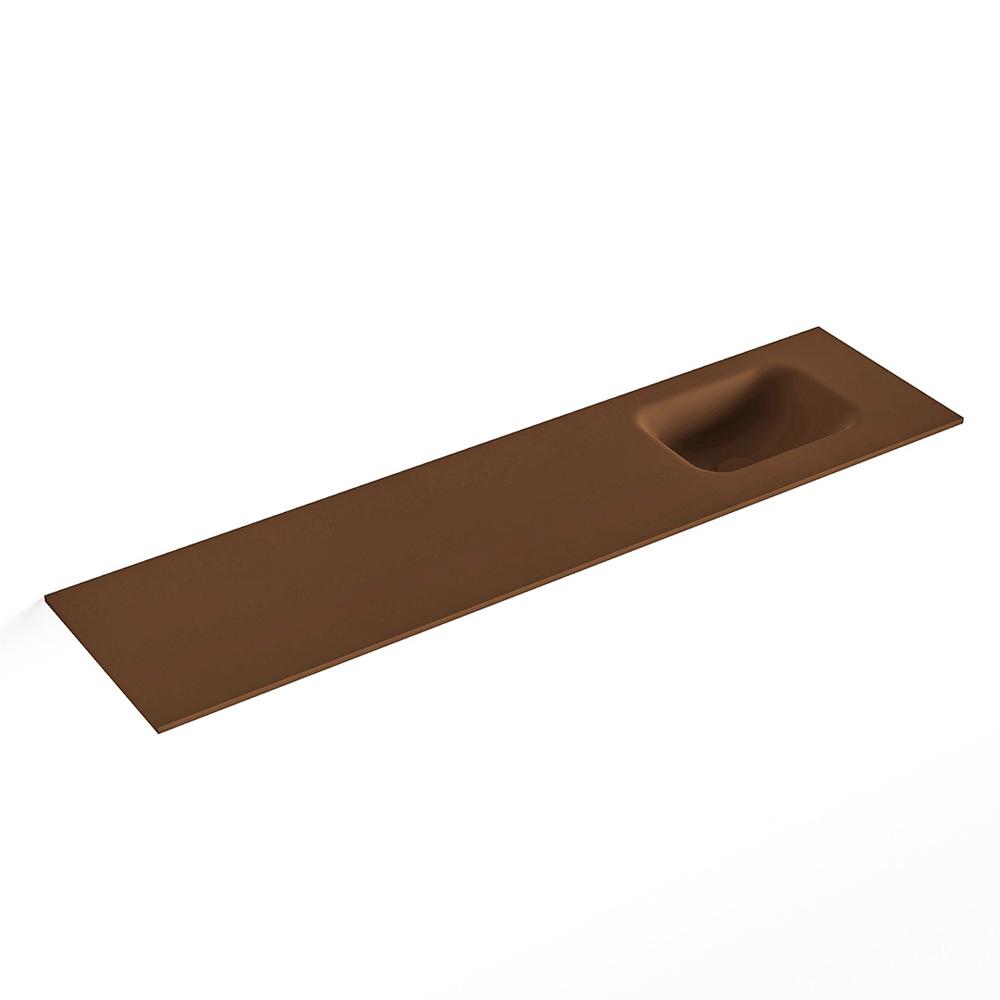 Productafbeelding van MONDIAZ LEX Rust solid surface inleg wastafel voor toiletmeubel 120cm. Positie wasbak rechts