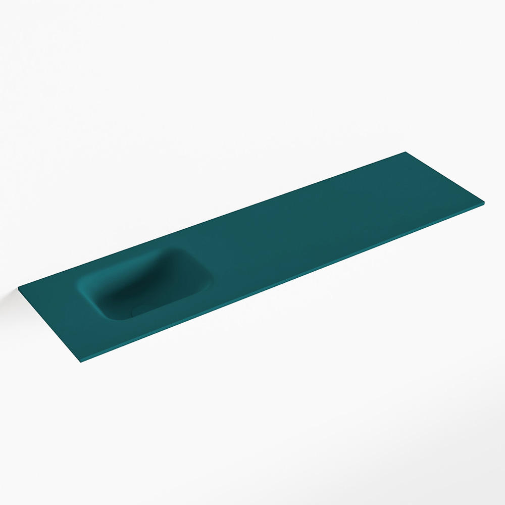 MONDIAZ LEX Smag solid surface inleg wastafel voor toiletmeubel 110cm. Positie wasbak links