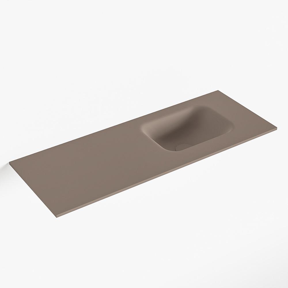 MONDIAZ LEX Smoke solid surface inleg wastafel voor toiletmeubel 80cm. Positie wasbak rechts
