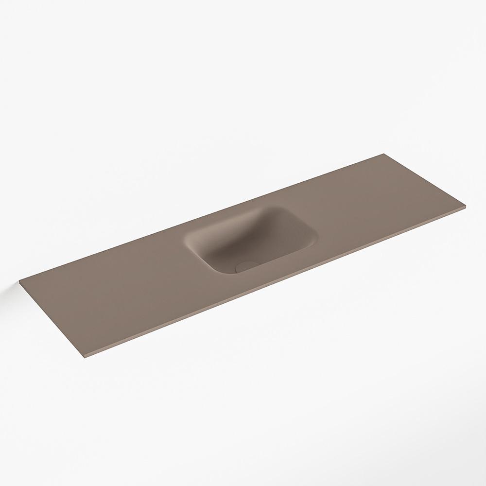 MONDIAZ LEX Smoke solid surface inleg wastafel voor toiletmeubel 100cm. Positie wasbak midden
