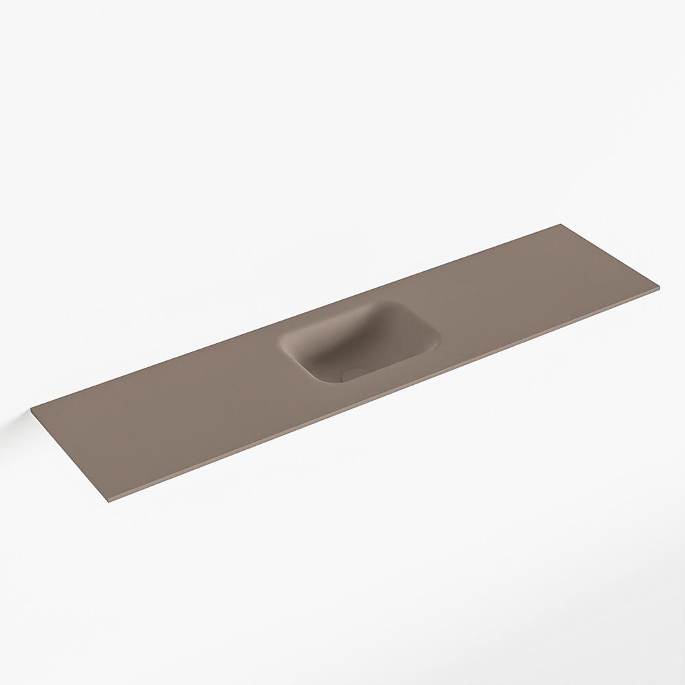 MONDIAZ LEX Smoke solid surface inleg wastafel voor toiletmeubel 120cm. Positie wasbak midden