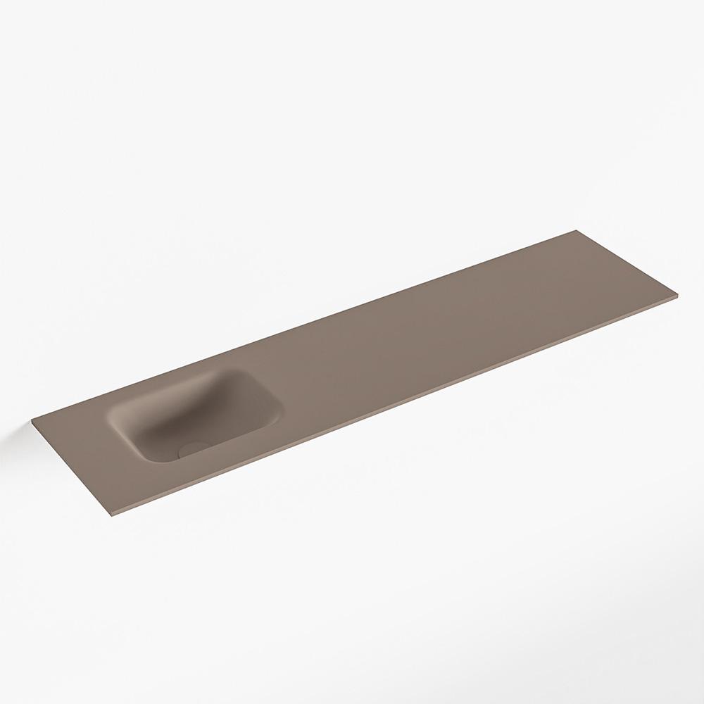 MONDIAZ LEX Smoke solid surface inleg wastafel voor toiletmeubel 120cm. Positie wasbak links