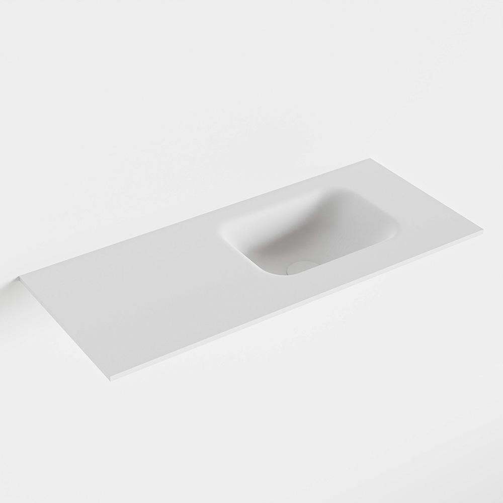 Productafbeelding van MONDIAZ LEX Talc solid surface inleg wastafel voor toiletmeubel 70cm. Positie wasbak rechts