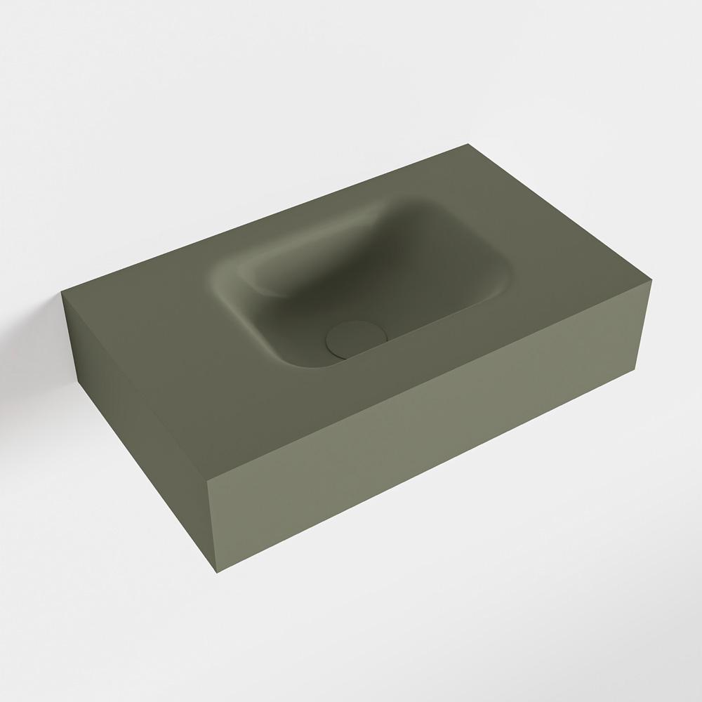 MONDIAZ LEX Army vrijhangende solid surface wastafel 50cm. Positie wasbak rechts
