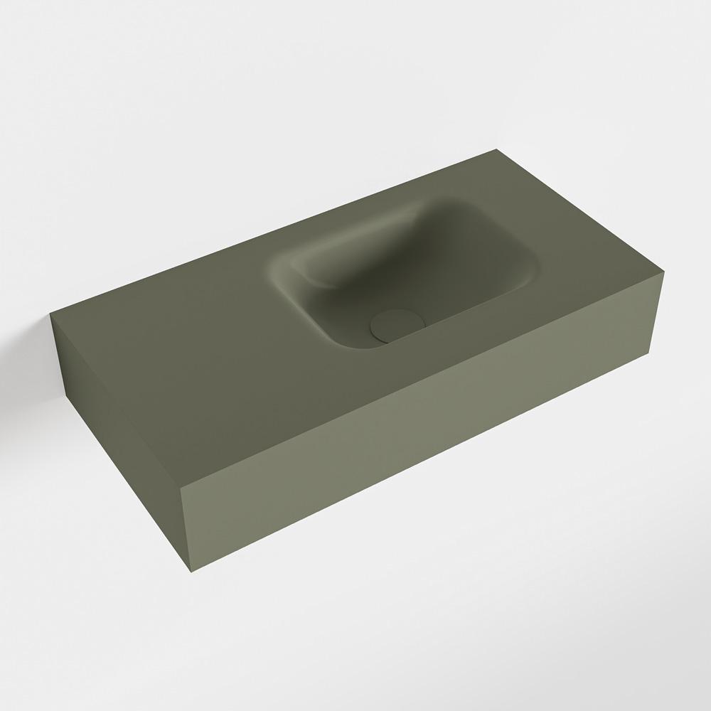 MONDIAZ LEX Army vrijhangende solid surface wastafel 60cm. Positie wasbak rechts