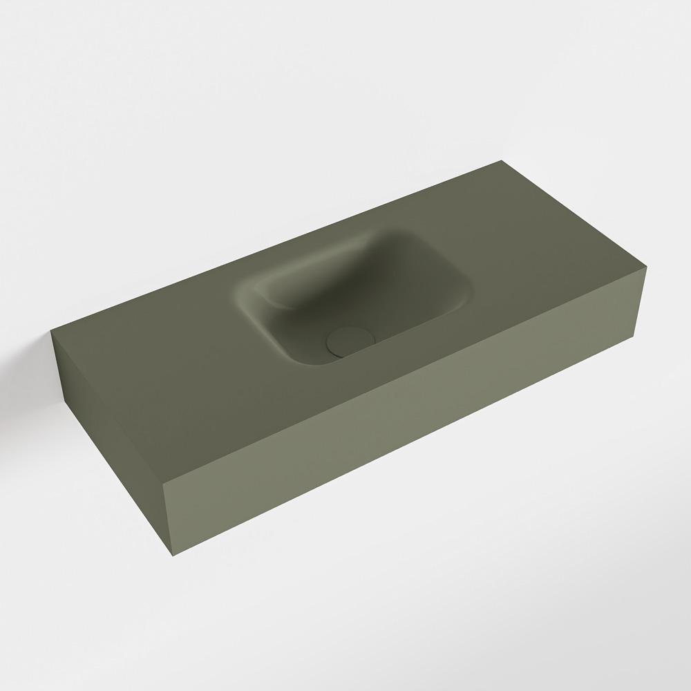 MONDIAZ LEX Army vrijhangende solid surface wastafel 70cm. Positie wasbak midden