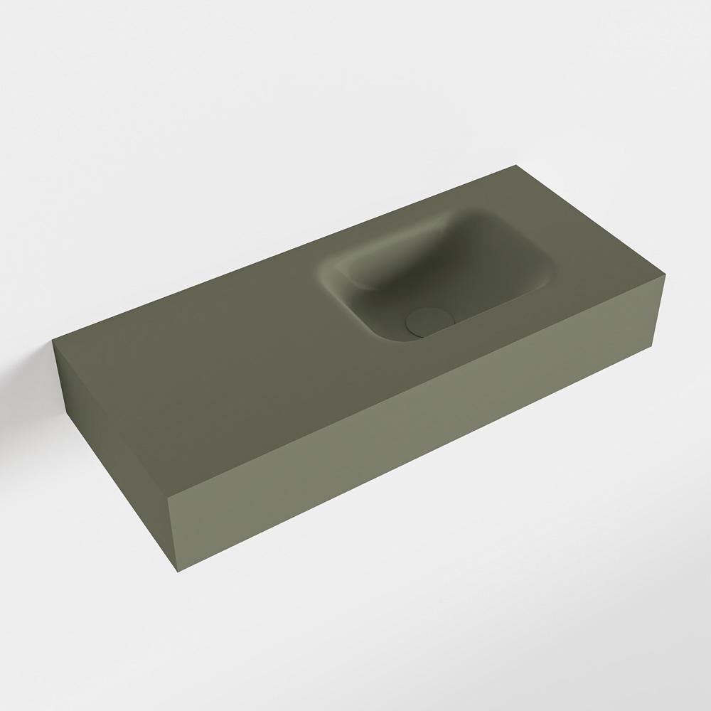 MONDIAZ LEX Army vrijhangende solid surface wastafel 70cm. Positie wasbak rechts