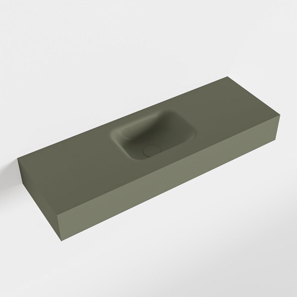 MONDIAZ LEX Army vrijhangende solid surface wastafel 90cm. Positie wasbak midden