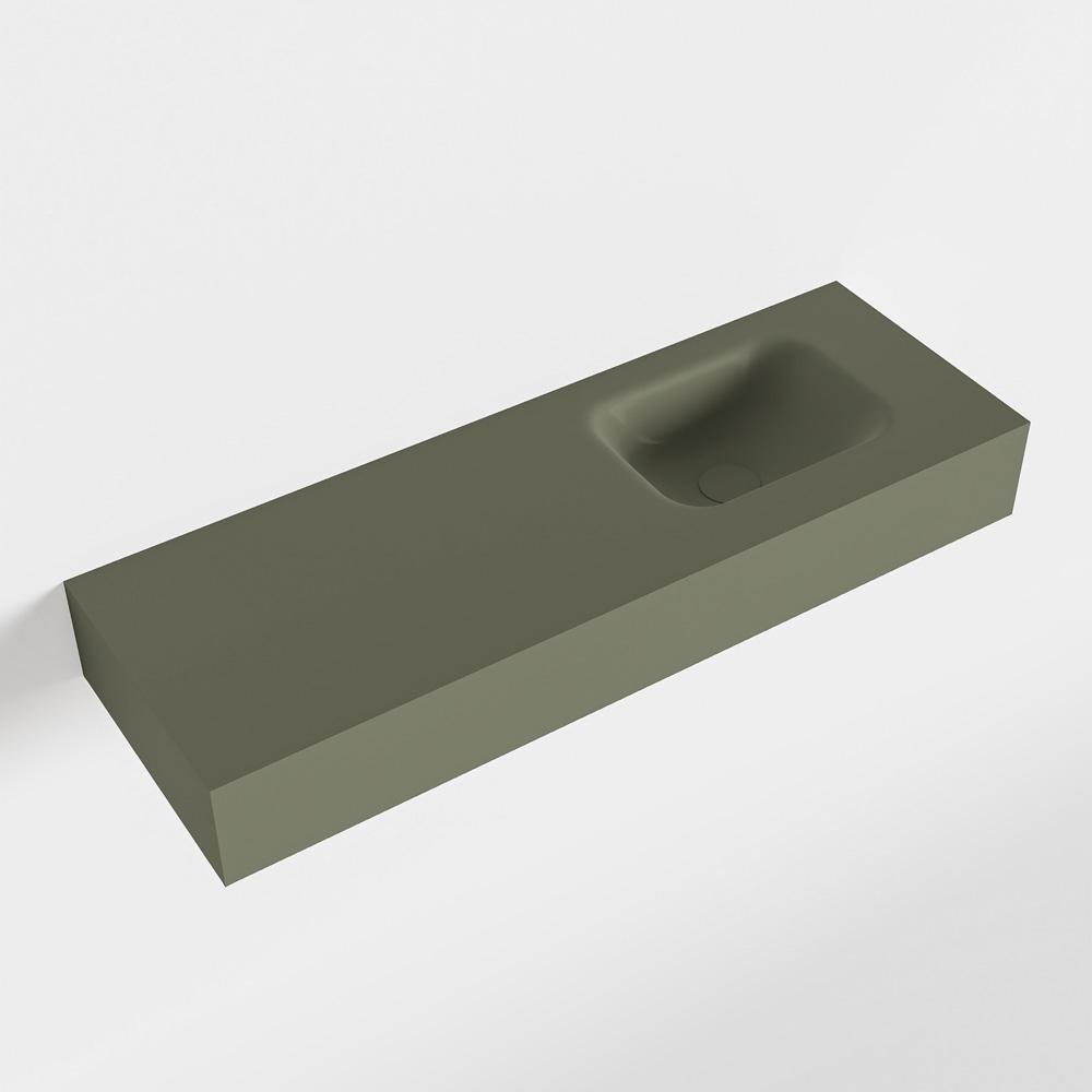 MONDIAZ LEX Army vrijhangende solid surface wastafel 90cm. Positie wasbak rechts