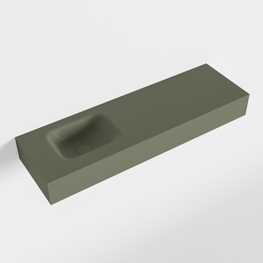 MONDIAZ LEX Army vrijhangende solid surface wastafel 100cm. Positie wasbak links