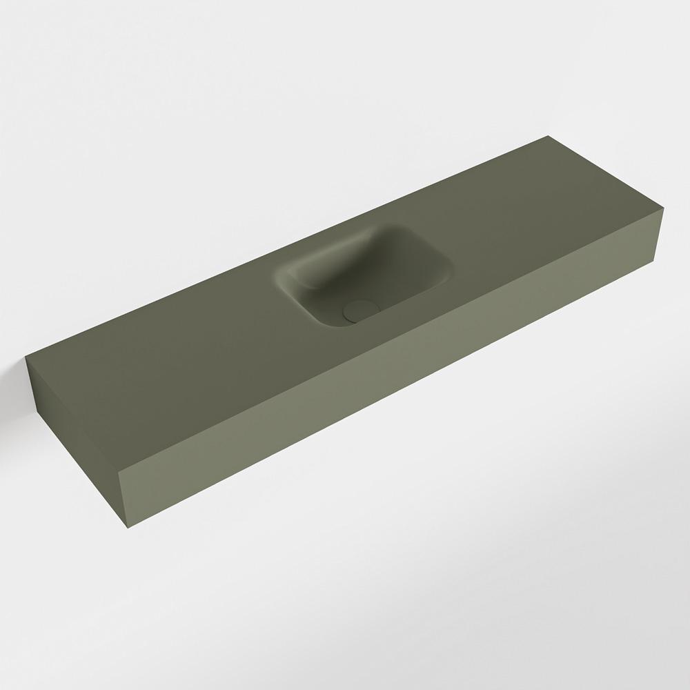 MONDIAZ LEX Army vrijhangende solid surface wastafel 110cm. Positie wasbak midden