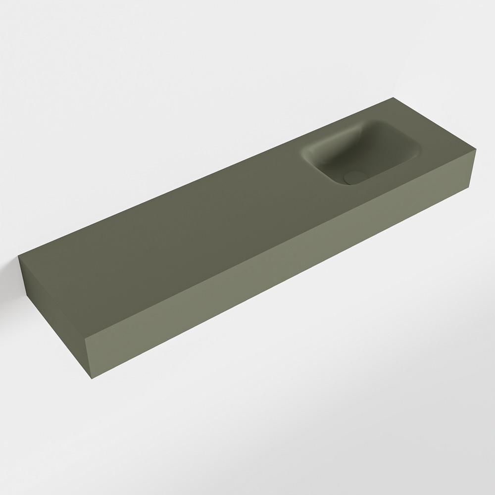 MONDIAZ LEX Army vrijhangende solid surface wastafel 110cm. Positie wasbak rechts