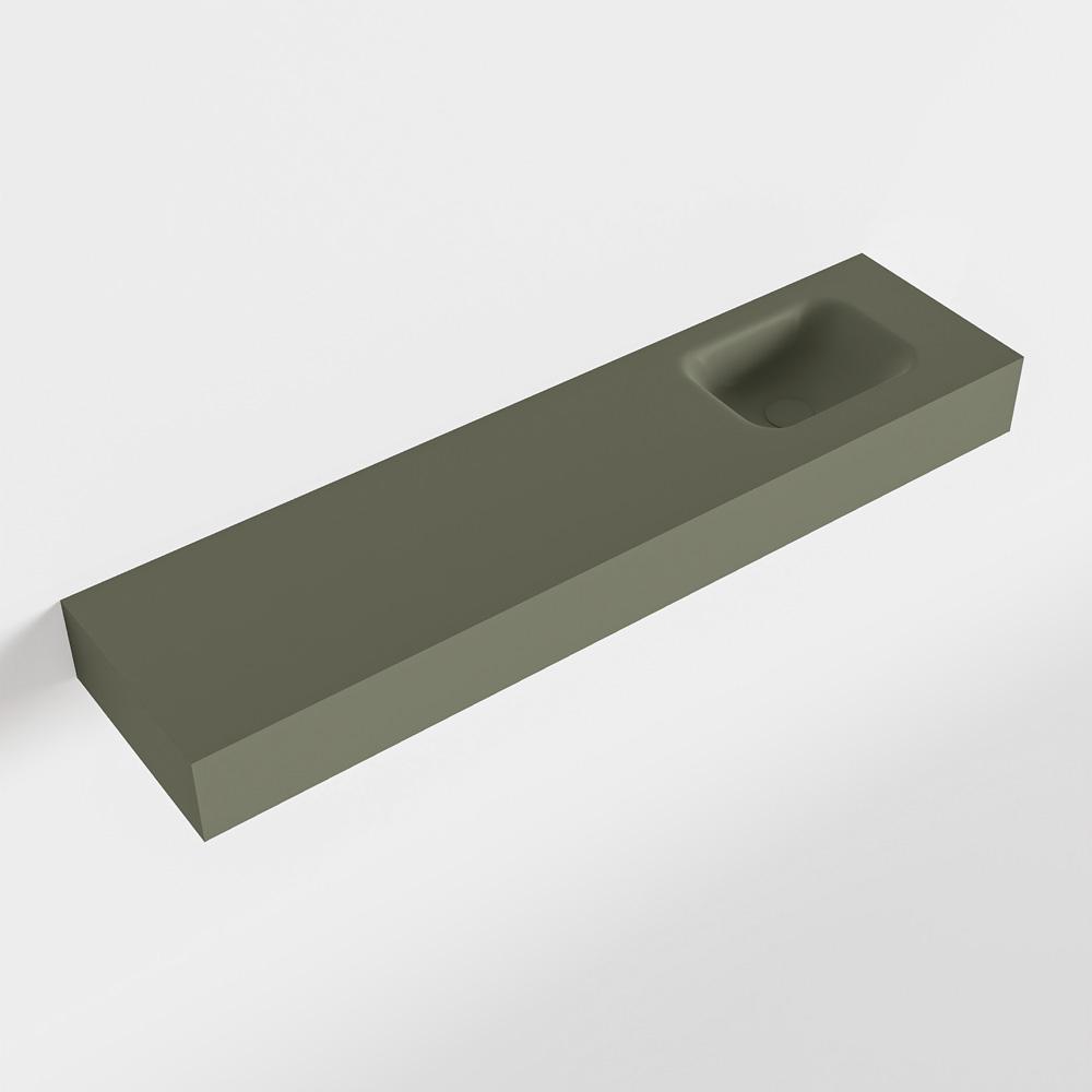 MONDIAZ LEX Army vrijhangende solid surface wastafel 120cm. Positie wasbak rechts