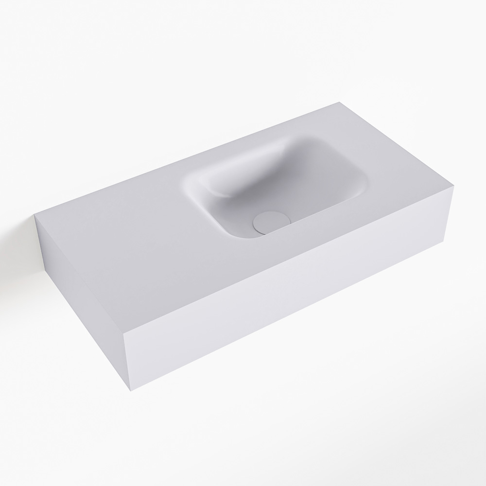 MONDIAZ LEX Cale vrijhangende solid surface wastafel 60cm. Positie wasbak rechts