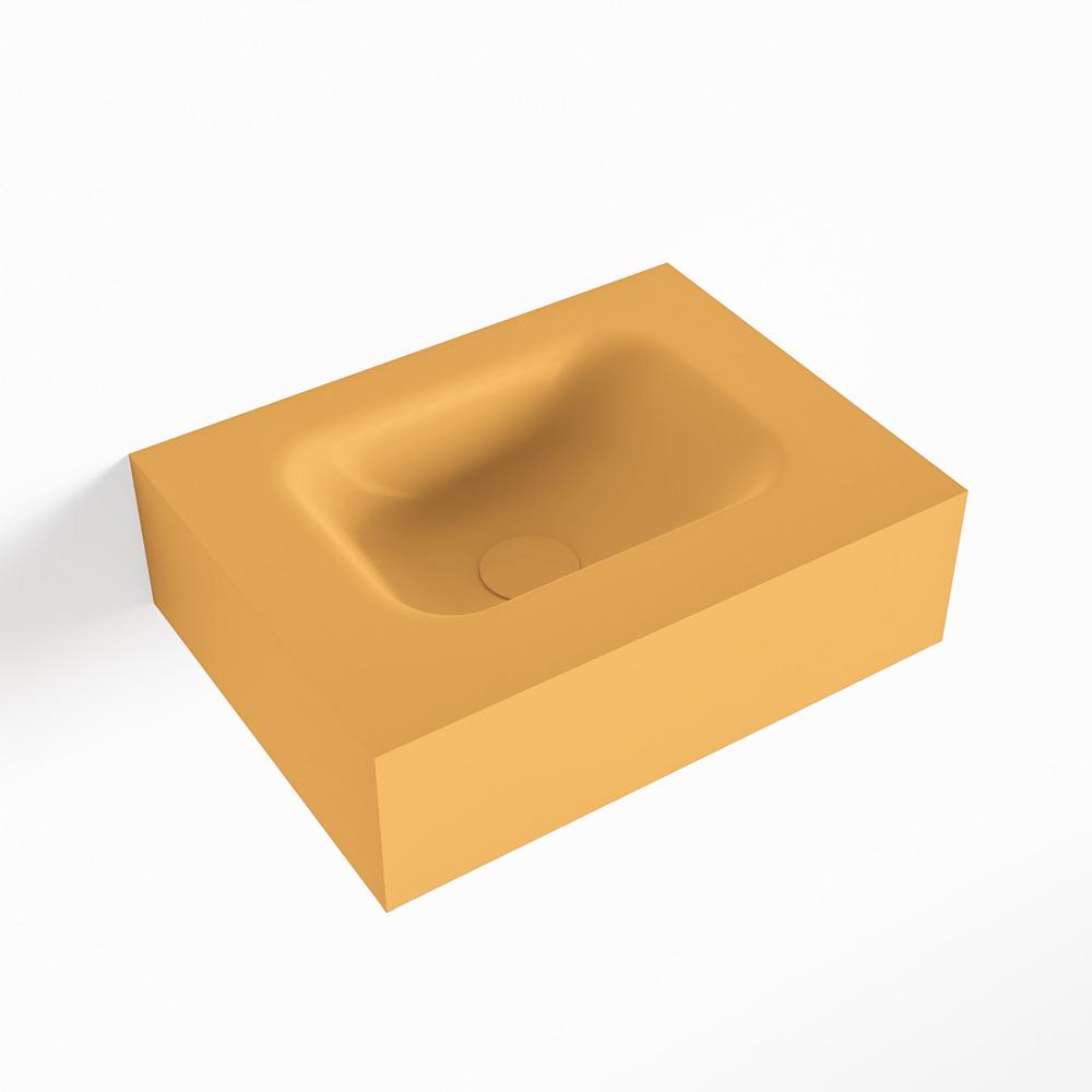 MONDIAZ LEX Ocher vrijhangende solid surface wastafel 40cm. Positie wasbak midden